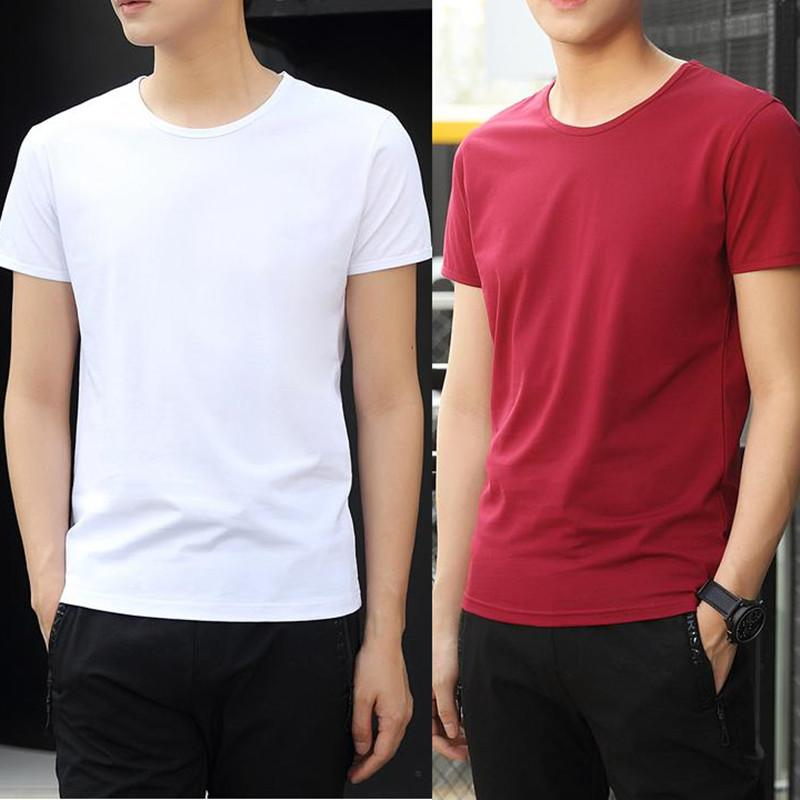 2pcs/lot t shirt men t-shirt short sleeve modal tshirt summer fashion casual round neck solid color slim fit t-shirts tops