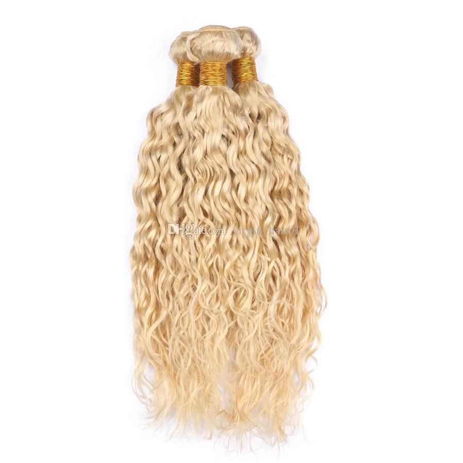 버진 브라질의 인간의 머리카락 순수한 금발의 컬러 웨이브 위브 번들 3pcs 많은 플래티넘 금발의 젖은 및 물결 모양 인간의 머리 Wefts 확장