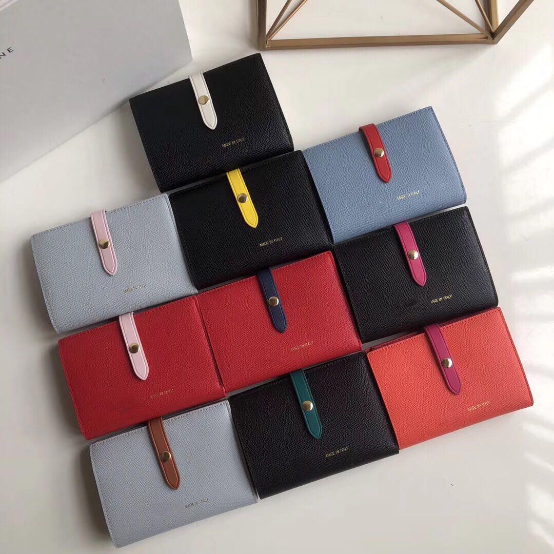 2020 Art und Weise einfache Farbe Leder Multifunktionsmappe exquisite Hardware Jacke Kupplung Frauen Schnalle Portemonnaie Hülse Kupplungsfrauenmappen