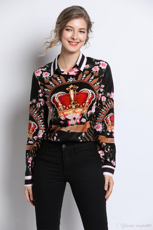 2020 Весна Лето Осень Мода Роскошный Цветочный Принт Воротник Женщины Повседневная Офисная Кнопка Спереди Вверх Отложной Воротник С Длинным Рукавом Топ Рубашка Блузка