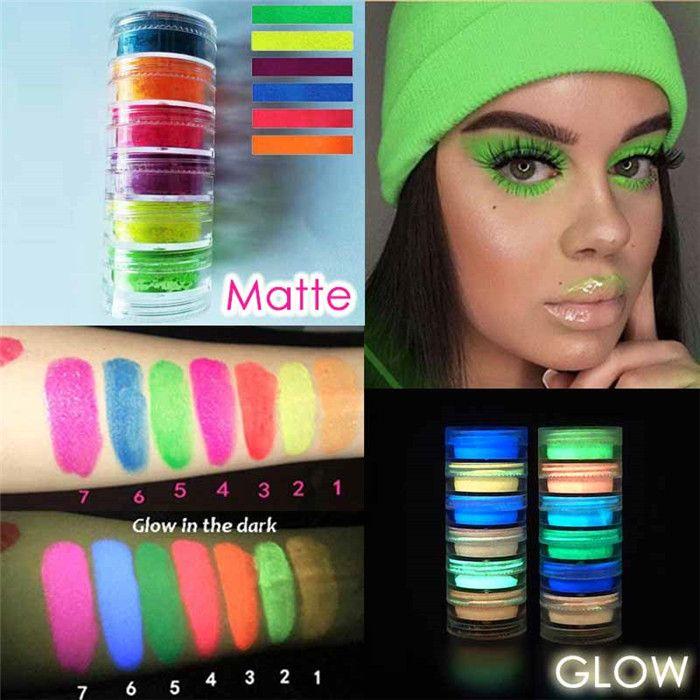Maquillaje neón fluorescente Pigmento Sombra de ojos de uñas maquillaje paleta resplandor en la oscuridad 6 colores de sombra de ojos del brillo de uñas cosméticos del 6sets