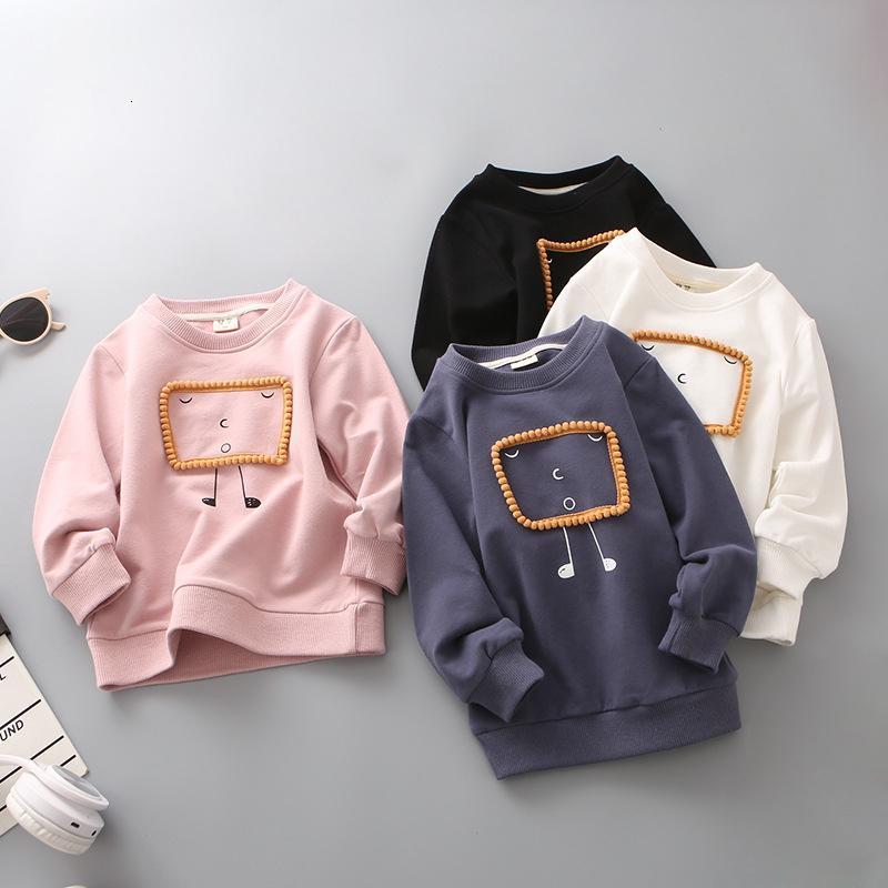 Manga de la camiseta de los niños de dibujos animados largo del otoño camisas Sólido Blanco Tops Niños Pullover chándal Nueva llegada T191014