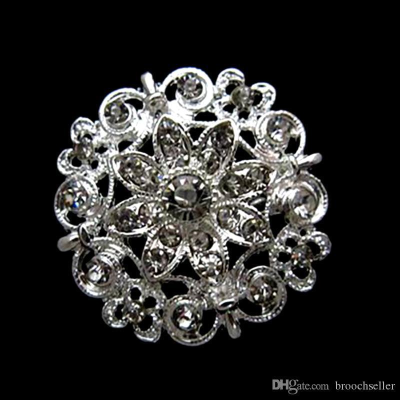 1,4 pollici argento placcato trasparente con strass di cristallo Bella Spilla Fiore