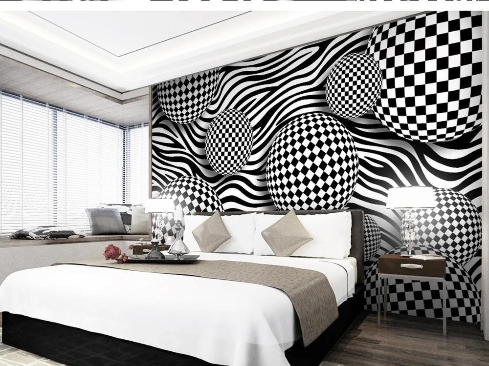 Personalizzato grande murale 3D Carta da parati moderna creativa spazio 3D astratto sfera motivo zebrato TV decorazione rotolo casa parete di fondo profonda 5D rilievo