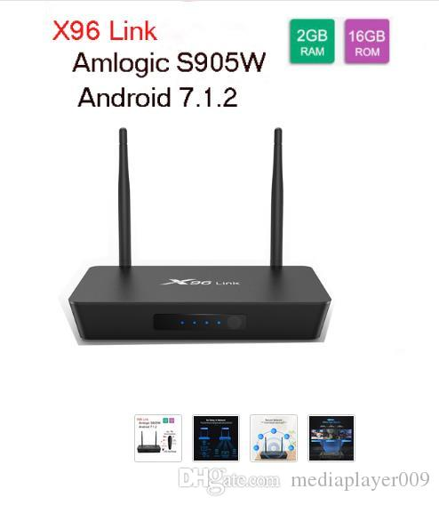 X96 Link Android 7.1 Amlogic S905W Quad Core Smart DDR3 2G 16G 100M LAN 4k 2.4G 5G Brand Wifi TV Box