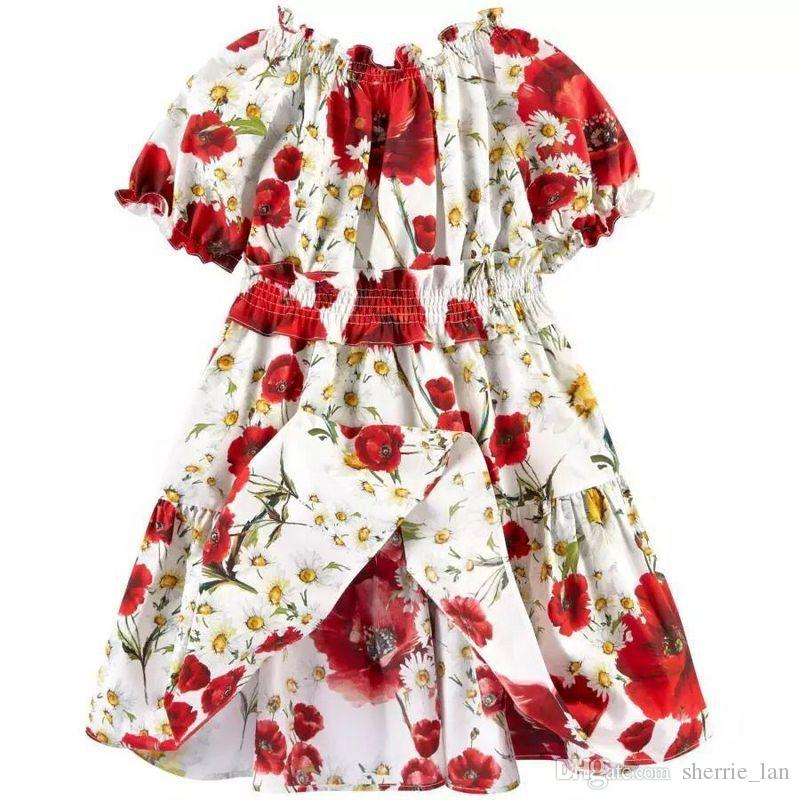 Toddler Girl Christmas Dresses Childrens Wear Good Quality Casual Cotton Linen Summer Baby Girl Dresses Style Baby Red Flowers Frock Designs