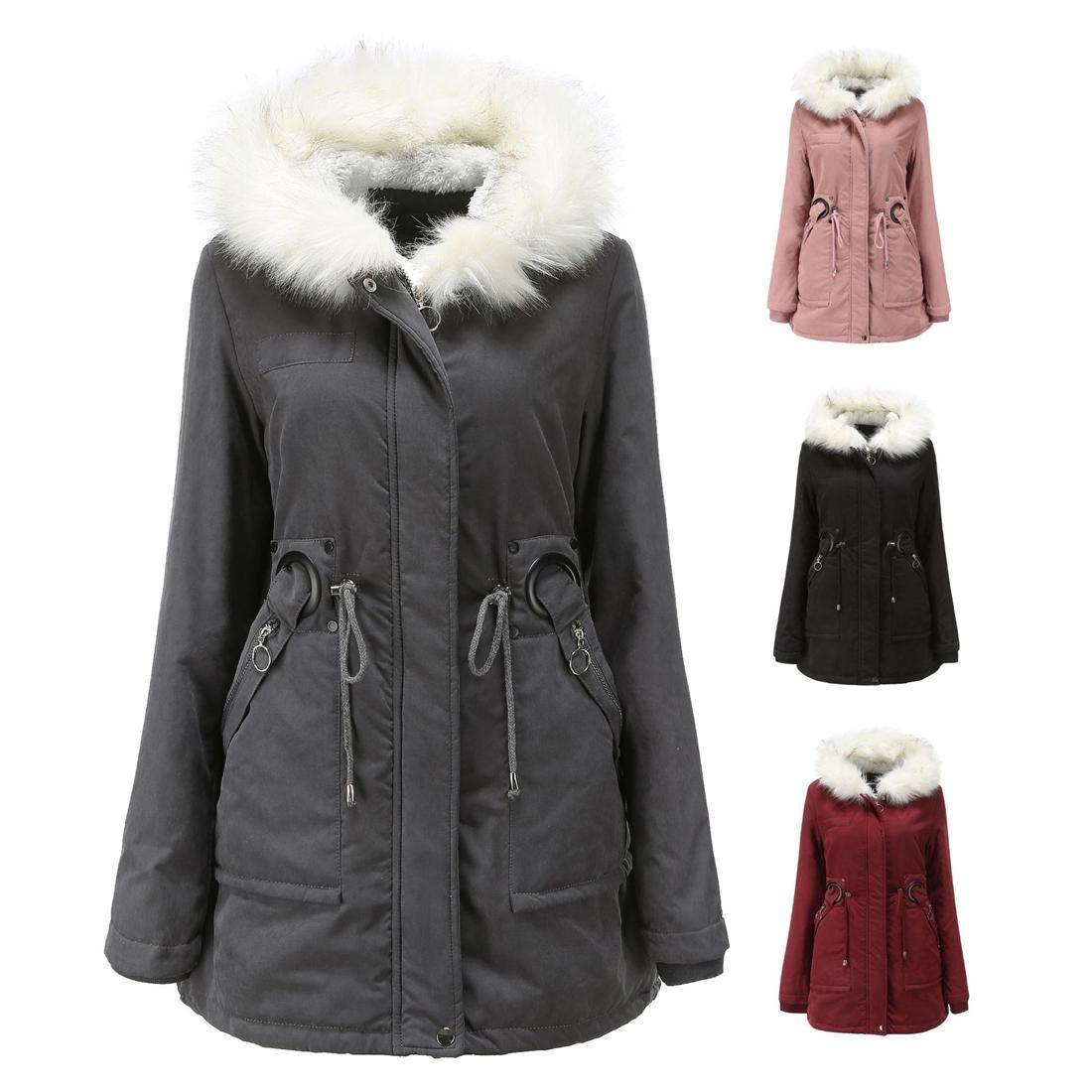 mujeres chaqueta de algodón acolchado larga con capucha cuello de piel blanca invierno cálido y abrigo de terciopelo de las mujeres
