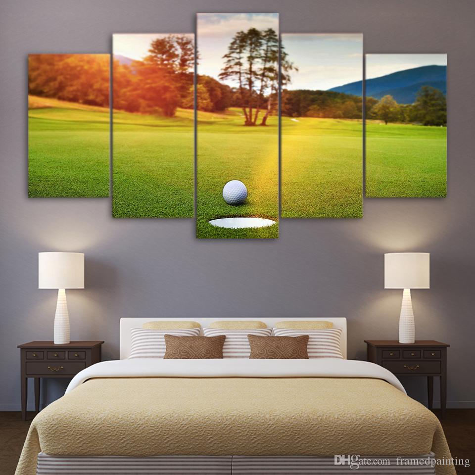 5 piece Pitture HD stampato su tela Sunset campo da golf a muro Immagini per soggiorno Home Decor spedizione gratuita