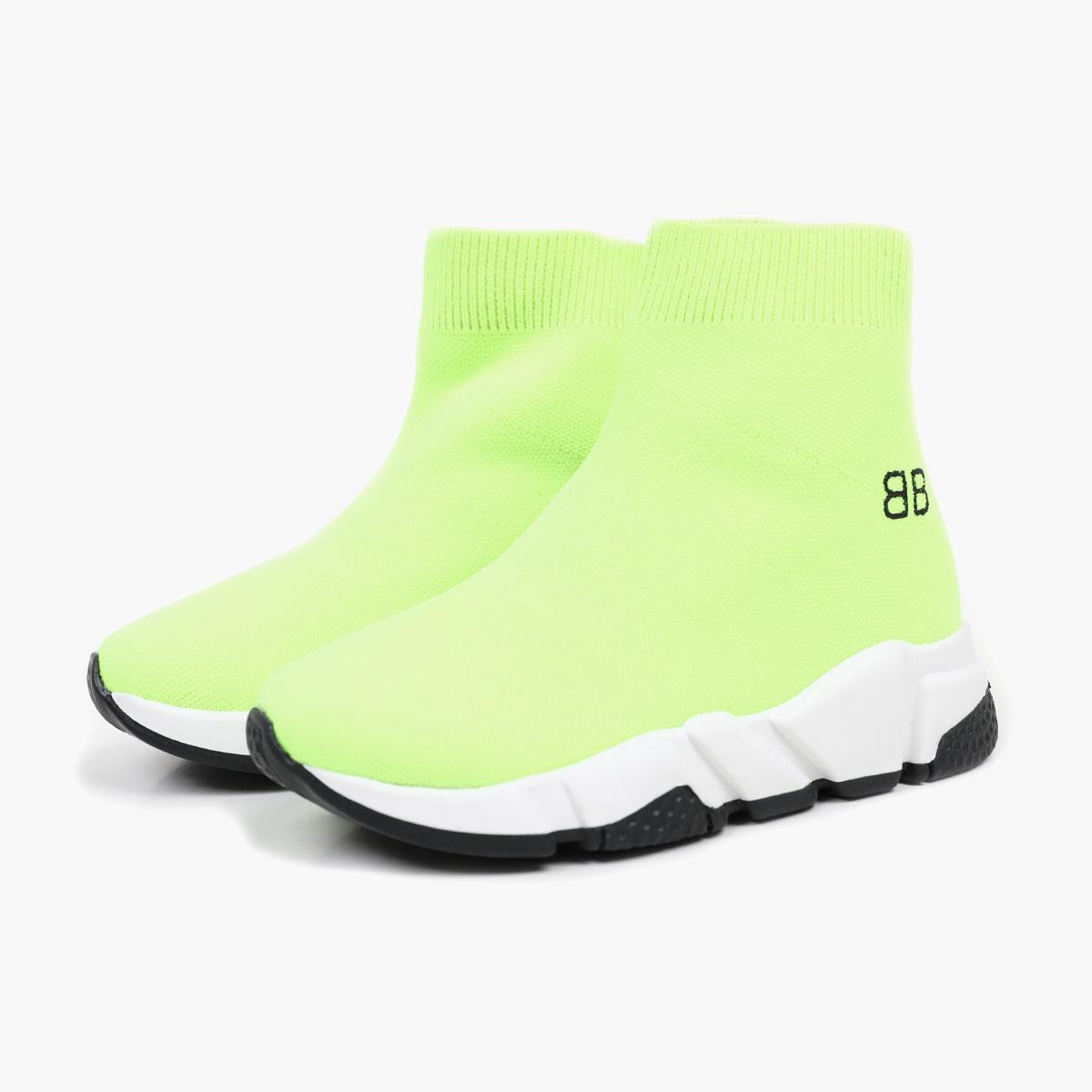kid shoe black youth boy sneakers B letter + neon green sole boutique girl fabric slip on boots baby boy walking toddlers Eu 24-35