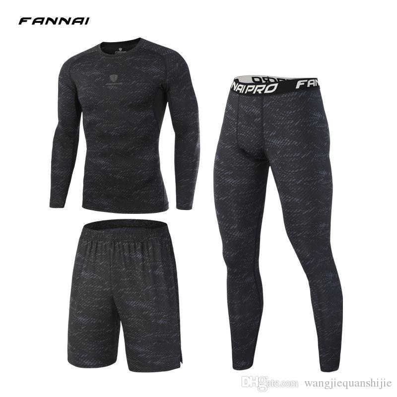 3 세트 / 세트 남자 스포츠 정장 압축 속옷 야외 실행 조깅 옷 티셔츠 바지 체육관 휘트니스 운동 스타킹 의상