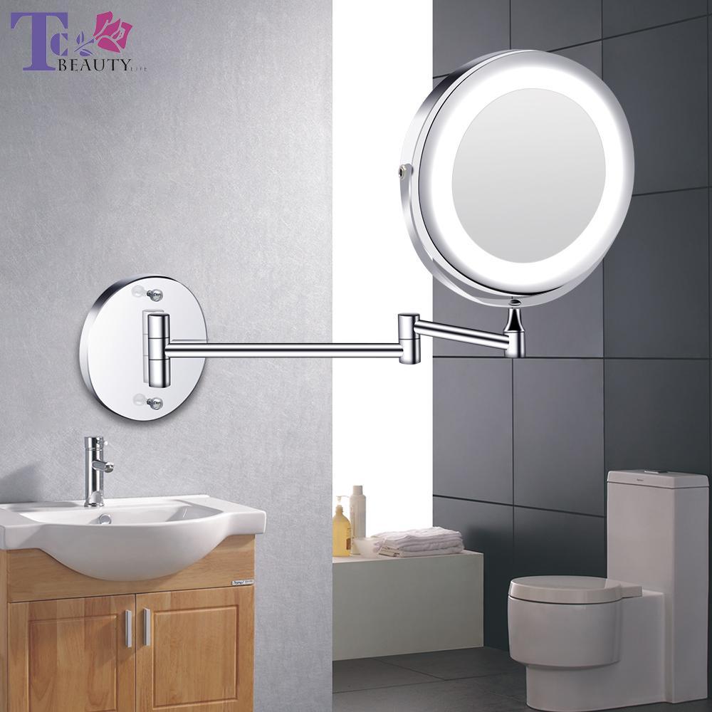 Maquillage Led Miroir avec lumière pliant mur Miroir 1x 10x loupe à double face tactile lumineux réglable Miroirs Y200114