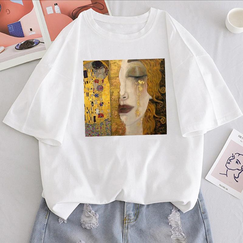 Sommer neuer Brief Gustav Klimt gedruckt Vintage-Stück-beiläufige Harajuku große neue Kunst Ölfarbe lose Frau in T-Shirt