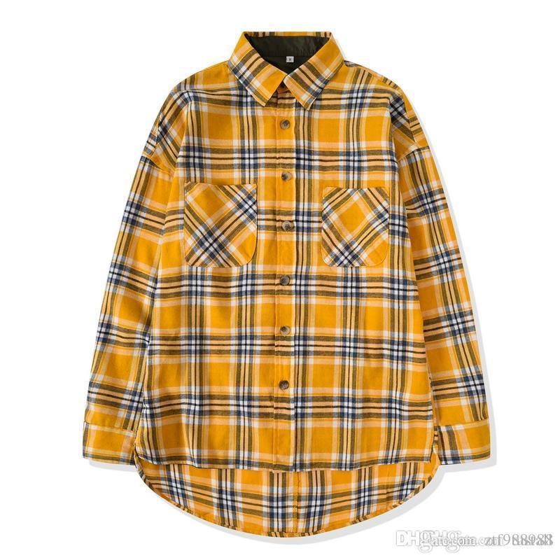 nova Hip Hop Camisa mais popular medo bieber justin dos homens, Deus nevoeiro flanela unisex camisa xadrez vestido de grandes dimensões de manga comprida amarela