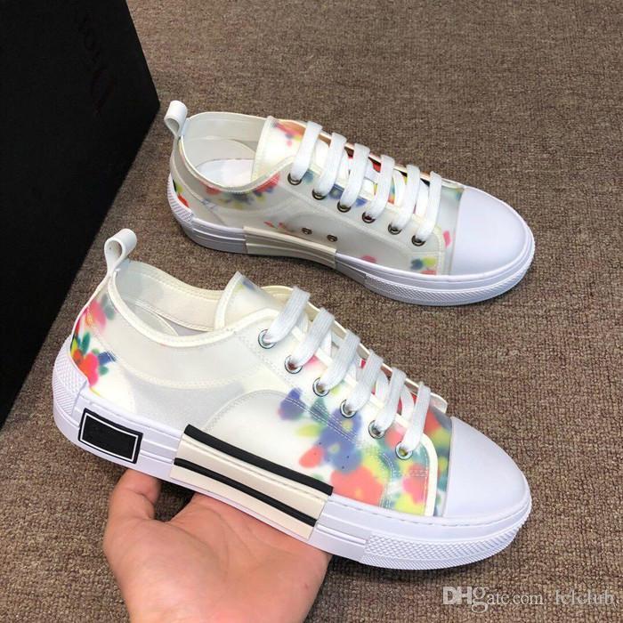 Çiçekler Teknik Tuval B23 Sneaker Yeni Moda Erkek Düşük En Tasarımcı Sneakers Lüks Tasarımcı Ayakkabı Bayan Moda B22 B24 B01 Ayakkabı