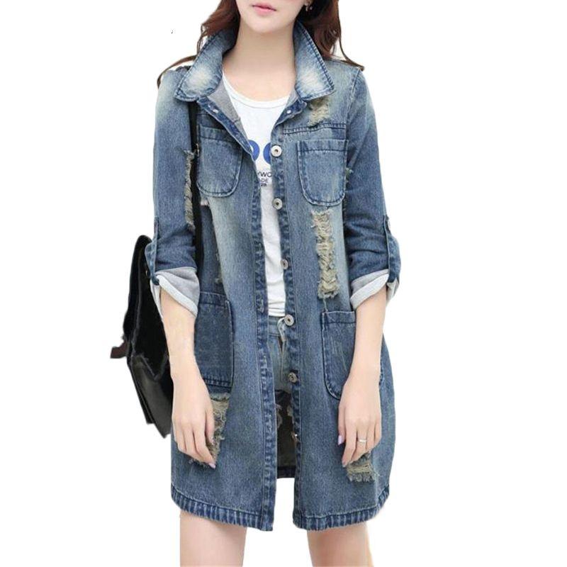 Плюс размера 5XL длинные женщины траншеи пальто 2019 весны осени мода отверстие пальто для женщин длинного рукава Denim Outwear з-5XL