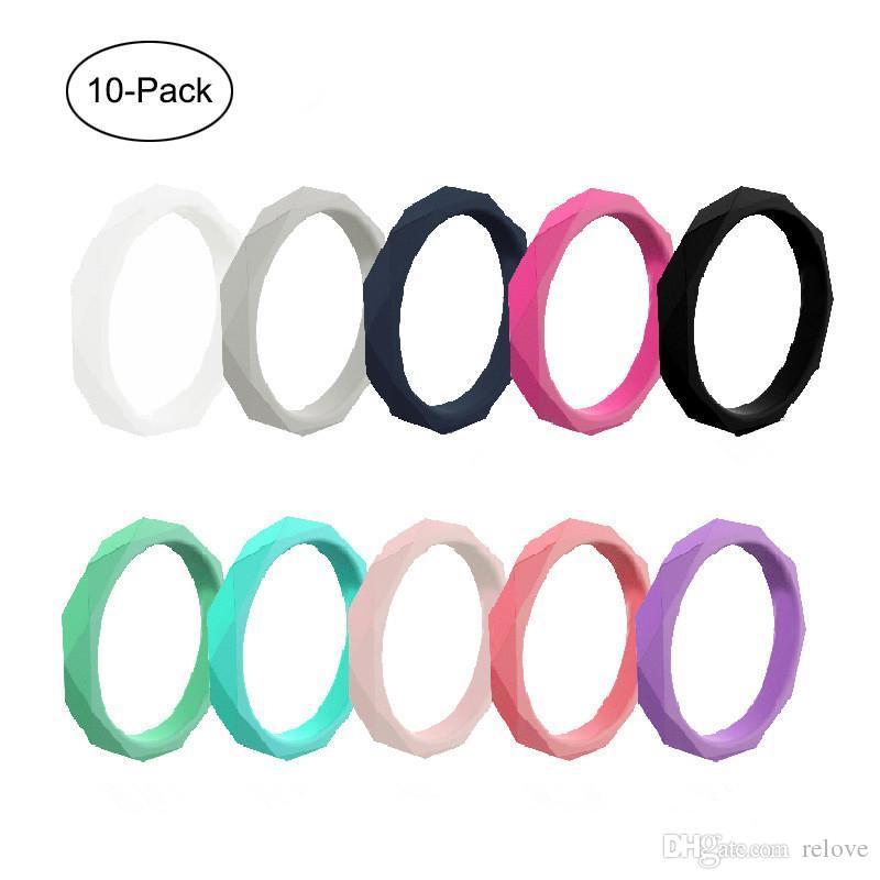 Bajo 10pcs Tamaño del paquete unisex orden mezclada anillo de bodas de silicona flexible de silicona O-anillo de boda anillo de ajuste cómodo multicolor