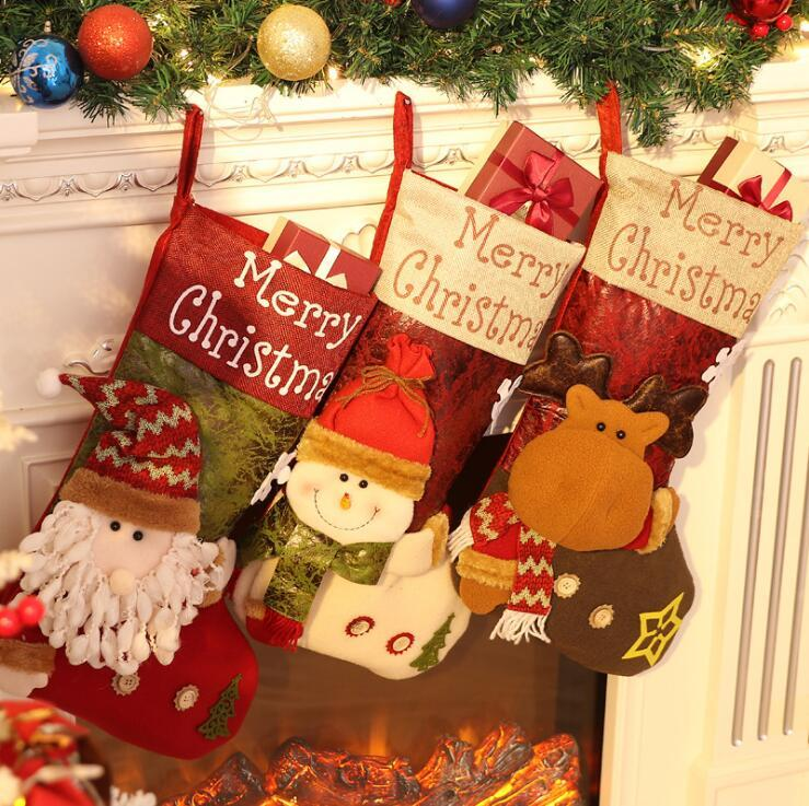 Christmas Stocking Boot Sock Santa Claus Candy Gift Bag Xmas Tree Hanging Decor