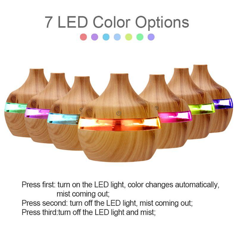 2020 yeni Aromaterapi 300ml Esansiyel Yağı Yayıcı bambu Nemlendirici Ağaç Damarı Ultrasonik 7 LED renk ışıkla Pus Difizör Soğuk