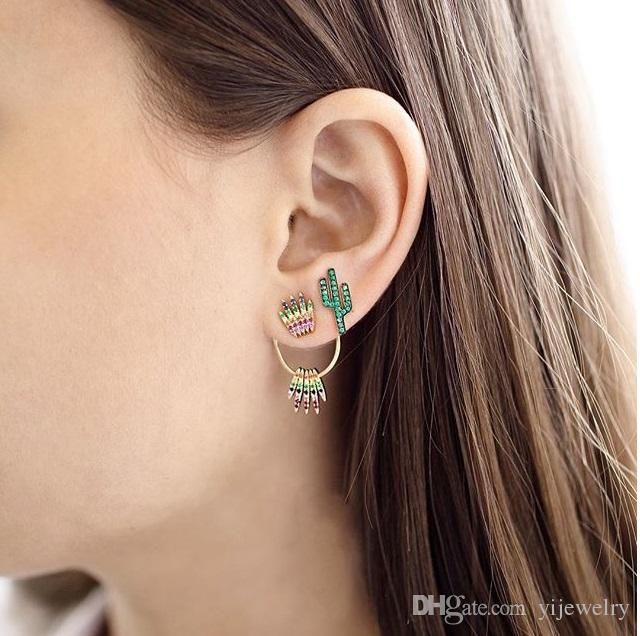 rainbow cz crown stud earring for women Gold colorful cz double side front back fashion trendy jacket earrings