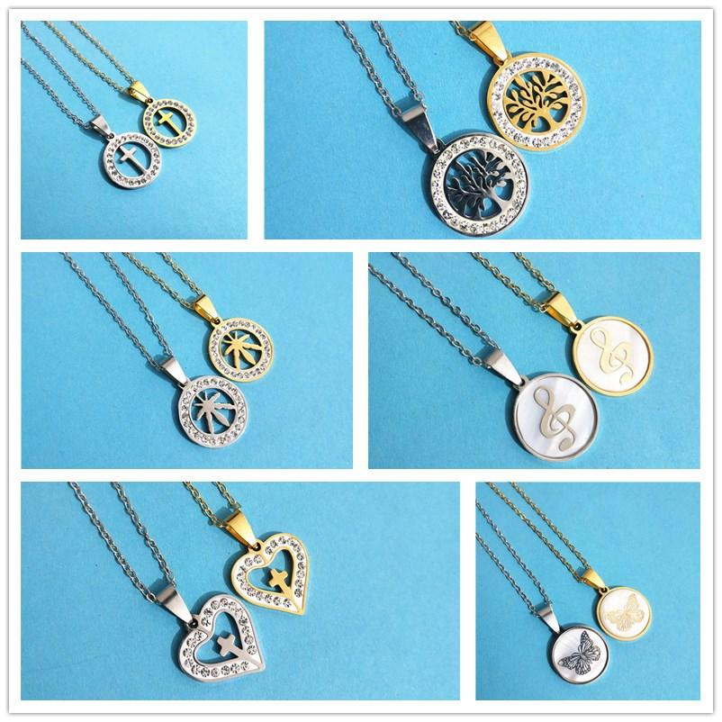Moda rotonda Collana in acciaio inox donne gotico strass Croce cuore dell'albero di vita della nota di musica catena del pendente Colar Gioielli