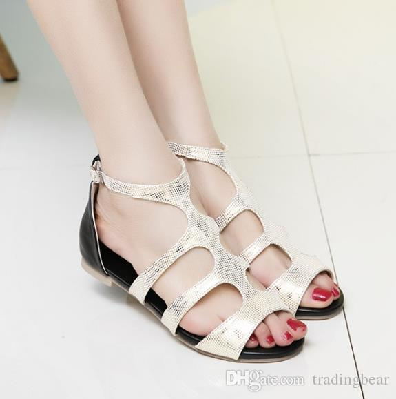 size 33 to 42 to 47 casual style flat sandals gold silver T strap sandals designer slides tradingbear