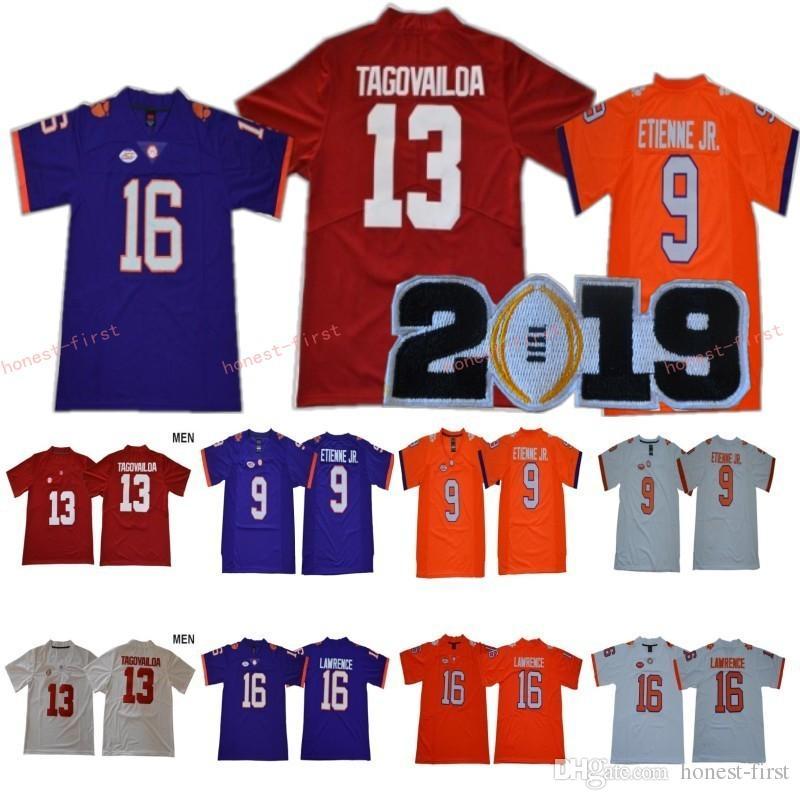 NCAA Kolej 16 Trevor Lawrence Jersey Clemson Tigers 9 Travis Etienne Jr Alabama Crimson Tide 13 Tua Tagovailoa 2019 Şampiyonası Yama