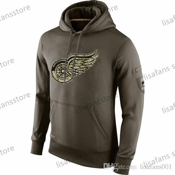 2016 Sueter Homens Detroit Red Wings Salute to Serviço Hoodies Sideline Therma Desempenho Printed Pullover Hoodies