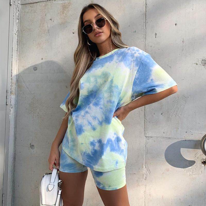 Europen&American hot sell fashion 2020 new colorful loose shirt shorts ropa de mujer two piece set tracksuit women suit clothes