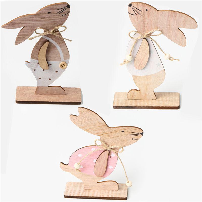 Пасхальные украшения Дерево пасхальный кролик Таблица декора дома Деревянные украшения Банни Пасхой партия выступает JK2002