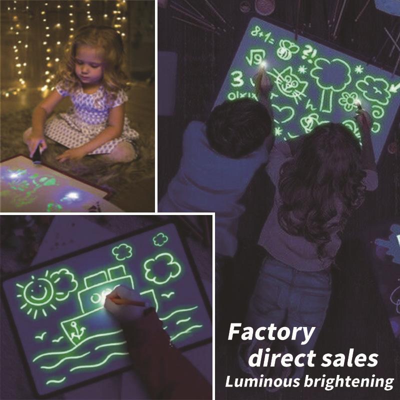 WJ1064 1 PCS tablero de dibujo Draw Con fluorescente magia infantil Luz Diversión mano luminosa escribiendo juega tablero de luz nocturna Pintura Suministros