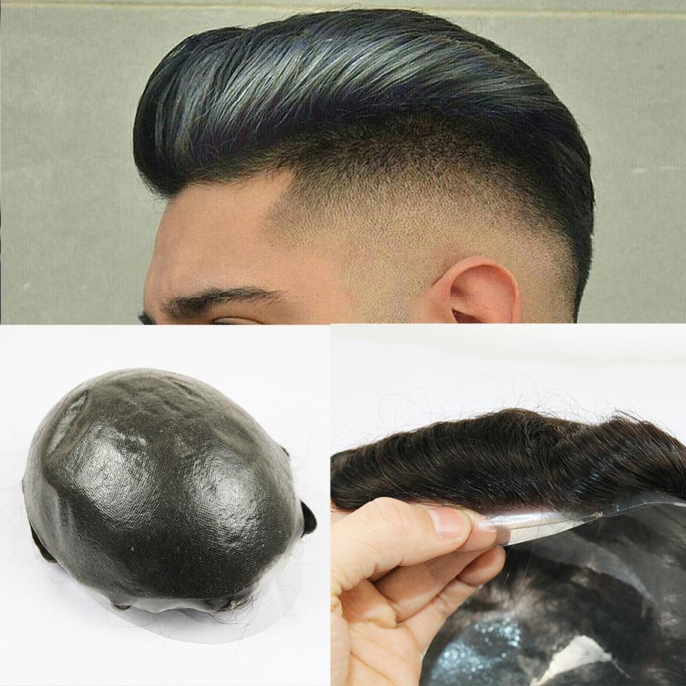 Тонкой кожа Мужской Toupee Real человеческих волосы Pieces V-петельной Замена система Бразильской Дева волос для мужчин естественной волны