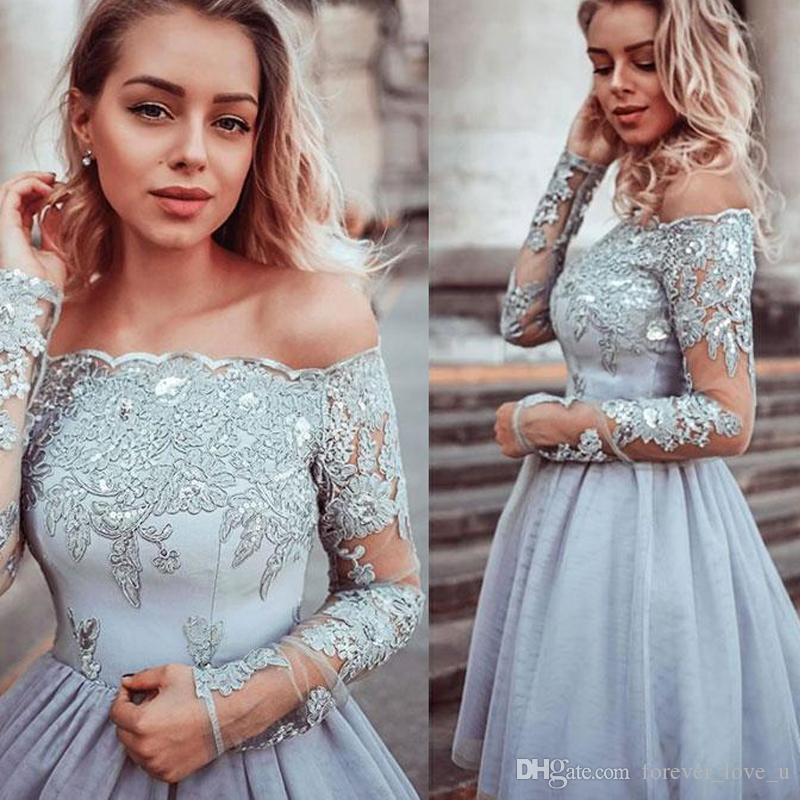 2019 New Short Prom Dresses Long Sleeves Off the Shoulder Beads Sequins Lace Appliques Illusion Sleeve Tulle Skirt Formal Party Gowns