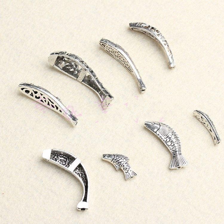 Liga espaçador Beads Tipos De Cyprinoid Peixe prata antiga jóia que faz DIY Encantos Beads Apreciação Atacado