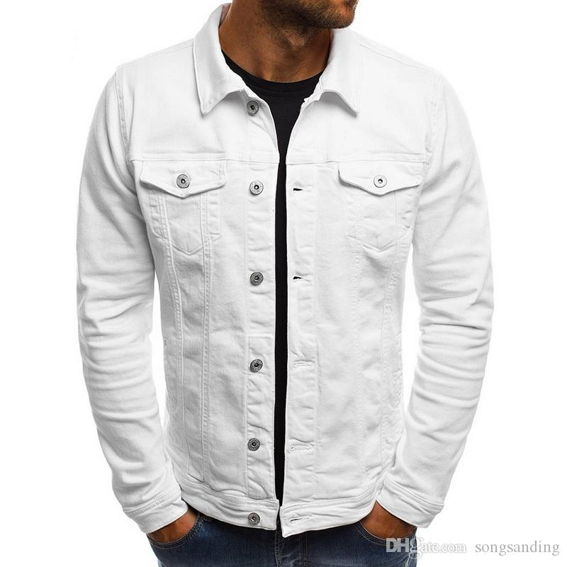 Drop Shipping 2019 erkek Kot Ceket Moda Kot Ceketler Slim Fit Rahat Streetwear Vintage Erkekler Jean Dış Giyim HL101
