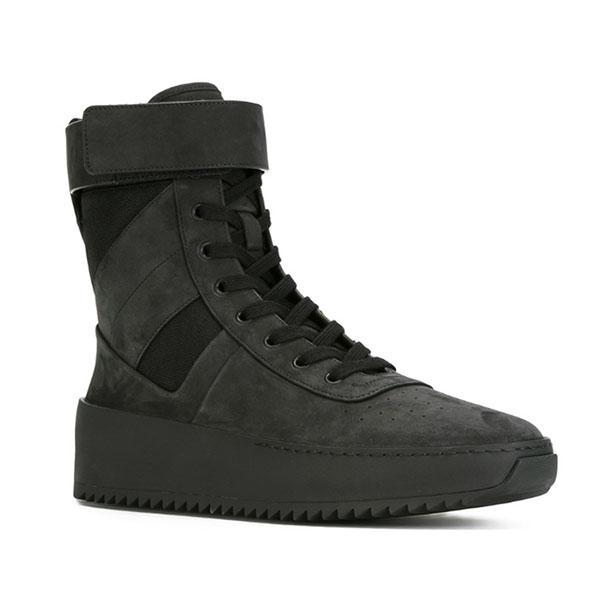 Mode Automne Hiver Hommes Chaussures Casual Plateau plat Botas Hombre croisée liée lacées haut Baskets montantes homme Black Suede militaire Bottines