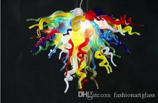 Современные выдувное стекло люстры цветочного дизайна Mini Дешевые Glass Art Цепные Подвесной светильник ручной работы Чихули Стиль Освещение