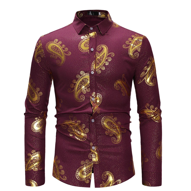 Hot fashion hot sale shirt men retro British print men's casual long-sleeved shirt cotton blend printed shirt men 4 color S-XL size