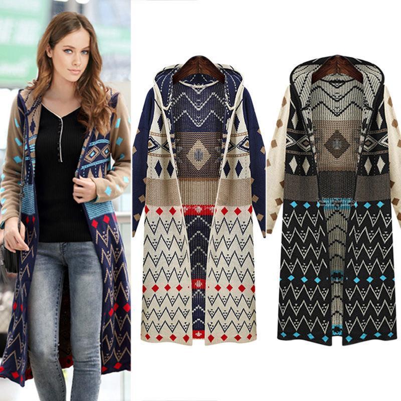 Venta caliente larga de las señoras de Cárdigan de punto ocasionales flojas capucha geométrica capa de la chaqueta de Boho libre del suéter del envío CJ191217