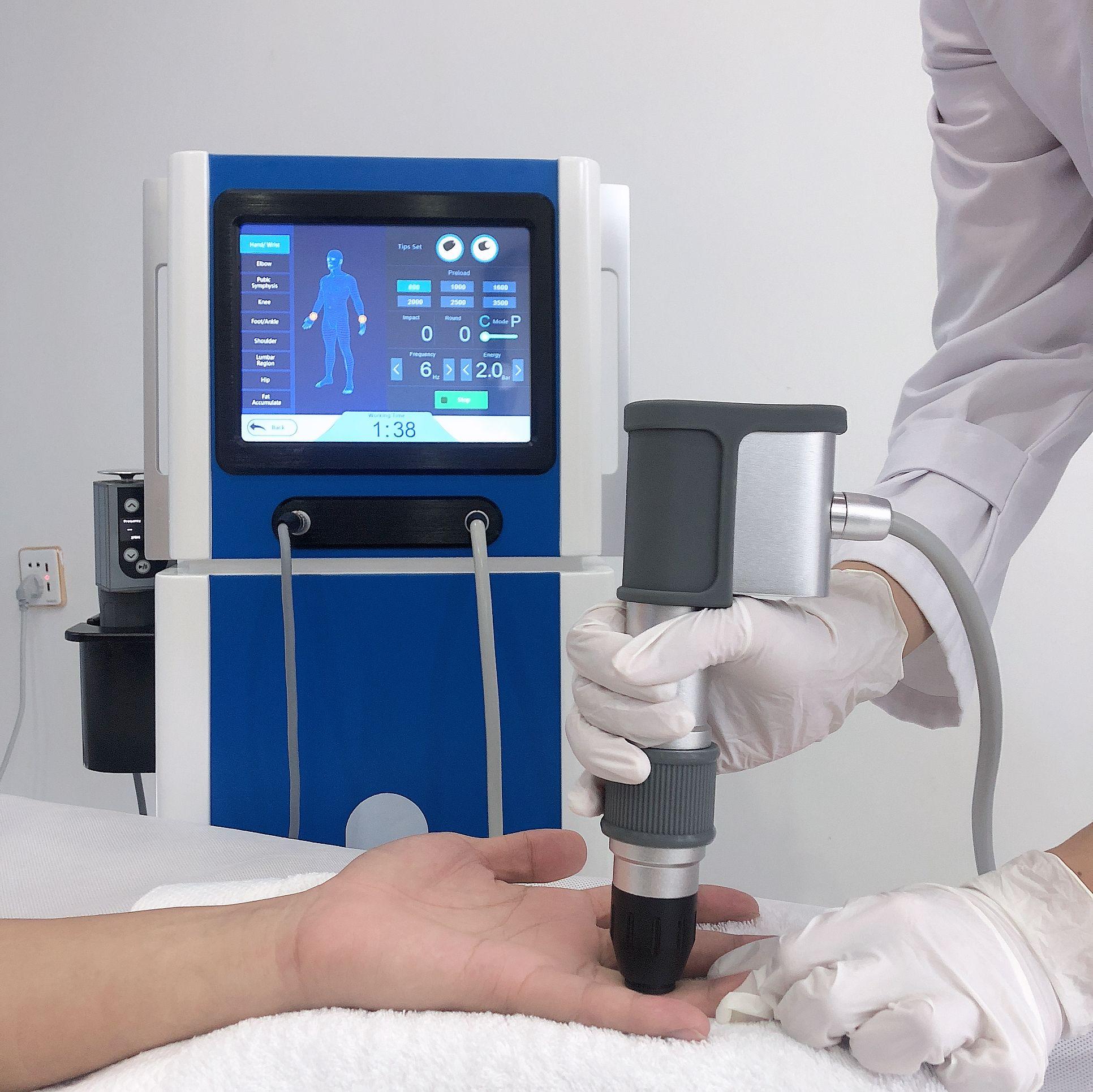 Combation 2 in 1 pneumatico elettromagnetica dispositivo onde d'urto rimozione macchina DE trattamento del dolore corpo onde d'urto