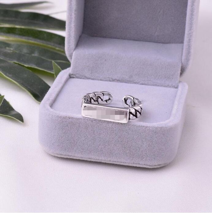 S925 Sterling Silver semplice marchio maschile e femminile anello di modo