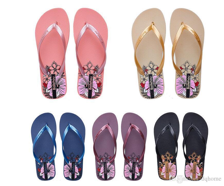 2018 new PVC fashion ladies flip flops summer non-slip blowing bottom wear-resistant printing flip-flops free shipping