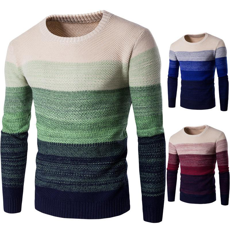 2019 Spring and Autumn Coloured Men's Sweaters Coloured Warm Knitted Sweaters Thickened Blue Red Green Colors Men