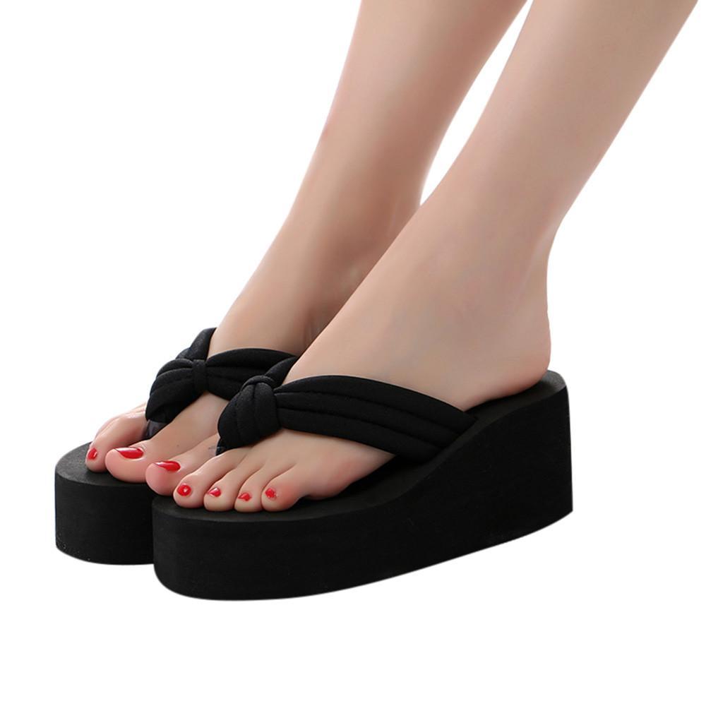 2019 Marka Yaz Kadın Yüksek topuklu Terlikler Kalın Karşıtı Savrulma Alt Terlik Ladies Beach Sandalet Kadın Açık Ayakkabı