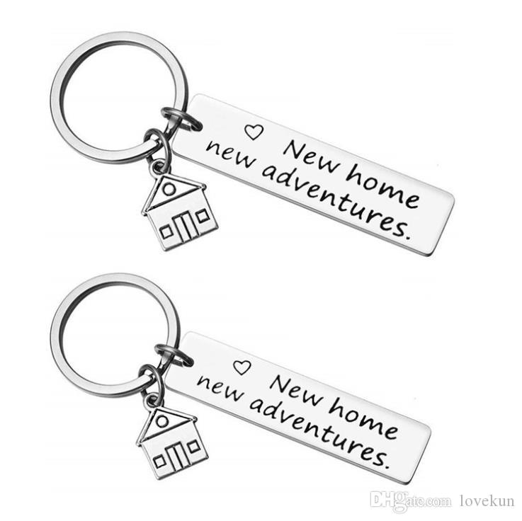 귀여운 열쇠 고리 가슴 워밍업 그녀의 또는 그분의 새로운 홈 새로운 모험 키 체인 하우스 키 열쇠 고리 함께 첫 집