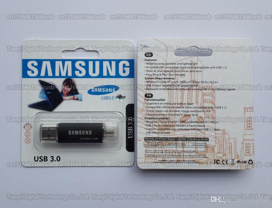 DHL الشحن 8GB / 16GB / 32GB / 64GB / 128GB / 256GB سامسونج OTG USB فلاش حملة / USB3.0 قياس جميع الترددات / قدرة حقيقية OTG الذاكرة عصا / جودة عالية القرص U