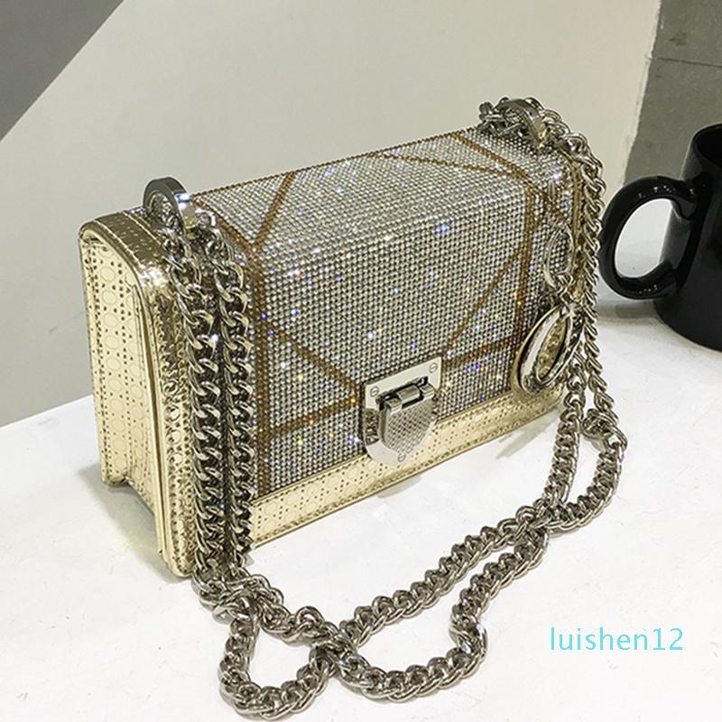 Designer 2019 Ombro de couro New Diamond Moda Mensageiro Bag Embreagens Casual Cadeia de alta qualidade luxo Bolsas Mulheres Bolsas Designer l12