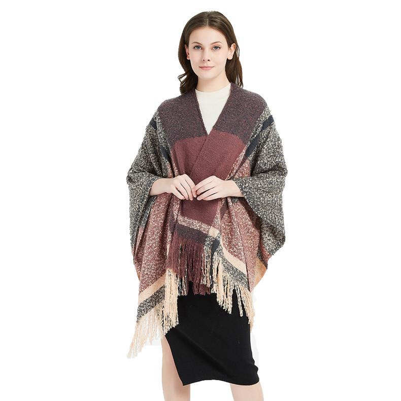 Осень и зима новое кольцо пряжи плед Сплит большой платок кисточкой шарф женская накидка