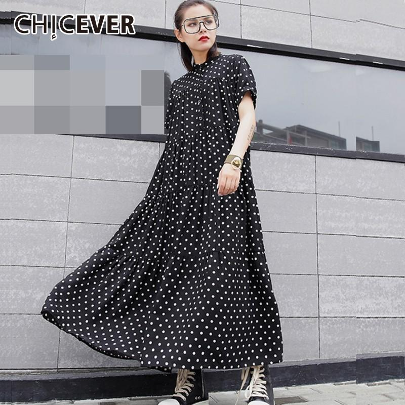 Chicever Chiffon Polka Dot Women's Dresses Women's Tights Short Cut Lot Of Pressure Dress For Women Fashion Casual Clothes Y19070901