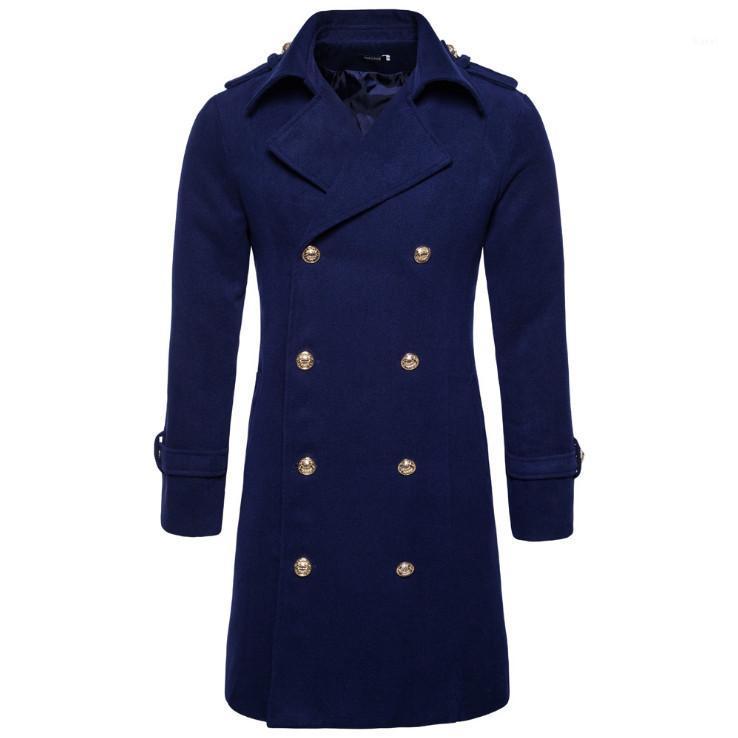 Europe/US Size Autumn Winter Double Breasted Woolen Coat Men England Style Slim Fit Long Windbreaker Jacket Male Casual Pea Coat1