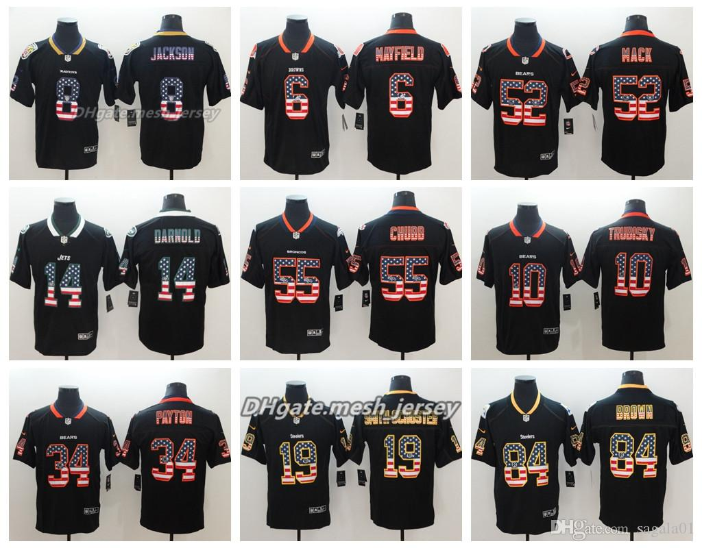 best sneakers 21f30 f85c4 2019 Flag Version Baltimore Ravens Jersey Cleveland Browns Chicago Bears  New York Jets Denver Broncos Houston Texans Color Rush Football Jerseys  From ...